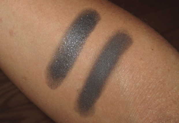 Black Eyeshadow Swatches - UD Perversion, MAC Dark Soul