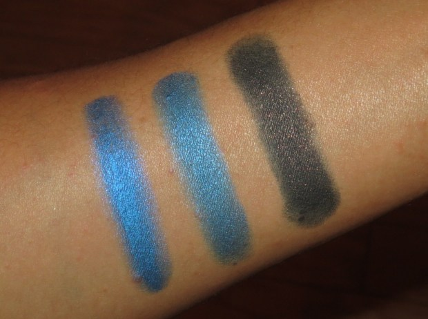 Blue Eyeshadow Swatches - UD Radium, MAC Blue Boy, MAC Blue Edge