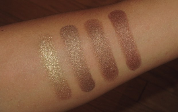 Bronze Eyeshadow Swatches - MAC Cocomotion, UD Smog, MAC Tempting, Clinique Rum Spice