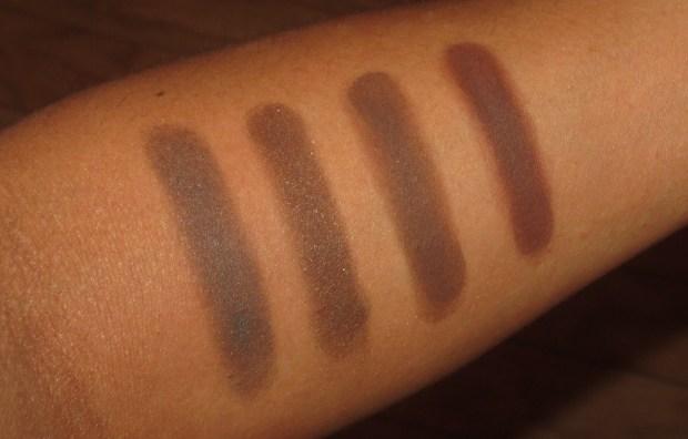 Brown Eyeshadow Swatches - MAC Dark Edge, KATE BR-2, MUFE #17, Laura Mercier Suspense Duo