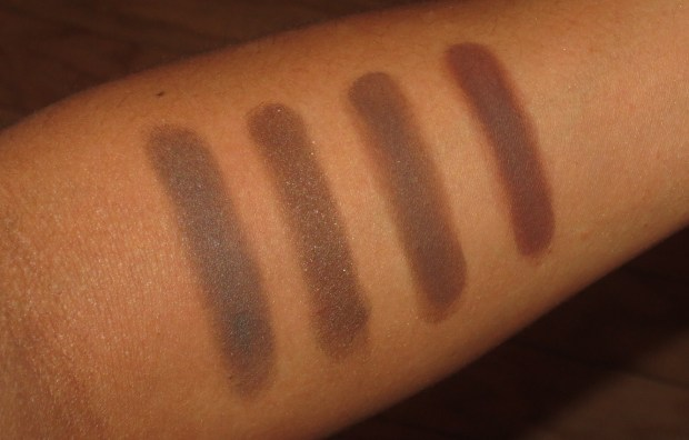Brown Eyeshadow Swatches - MAC Dark Edge, KATE BR-2, MUFE #17, Laura Mercier Suspense Duo