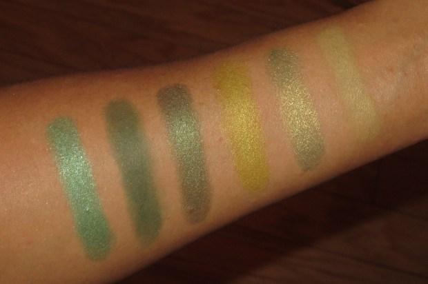 Green Eyeshadow Swatches - UD Kush, LMdB Jade, UD Mildew, MAC Sharp, Lise Watier Folie Pomme, MUFE #57