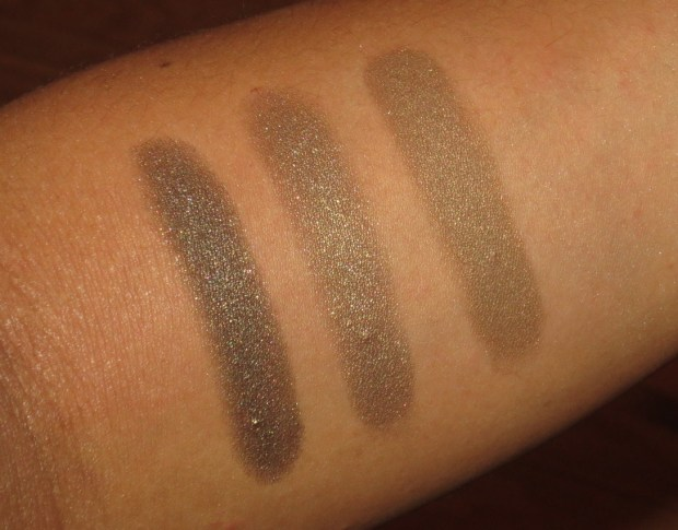 Khaki Eyeshadow Swatches - Armani #24, Armani #6, Clinique Autumn Moss