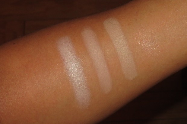 Nude Eyeshadow Swatches - MAC Next to Nothing, Laura Mercier Suspense, Burberry Trench