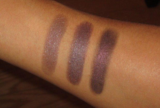 Plum Eyeshadow Swatches - NARS Habanera, UD Rockstar, Hourglass Exhibition