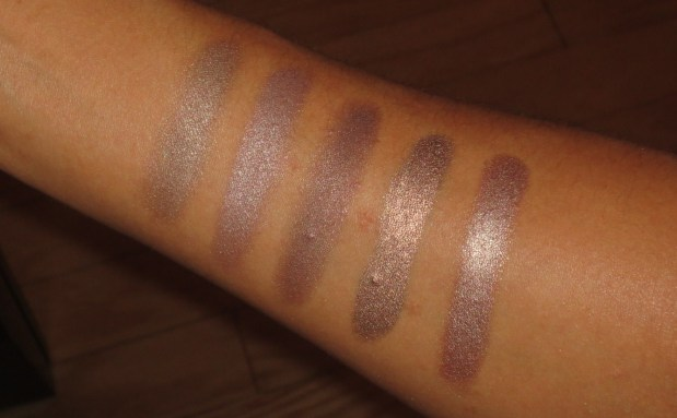 Purple-Taupe Eyeshadow Swatches - NARS Grand Palais, LMdB Corinthian, MAC Shale, bareMinerals Meteorite, Hourglass Exhibition