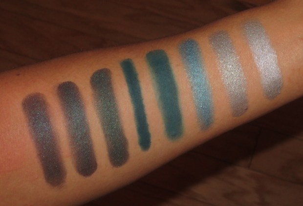 Teal-Aqua Eyeshadow Swatches - NARS Rajasthan, theBalm Jealous Jordana, UD Loaded, MUFE #8, Illamasqua Burst, UD Money, NARS Habanera