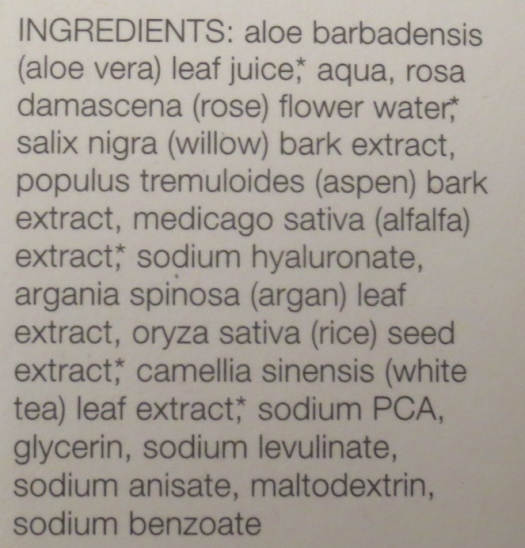 Kahina Toning Mist ingredients