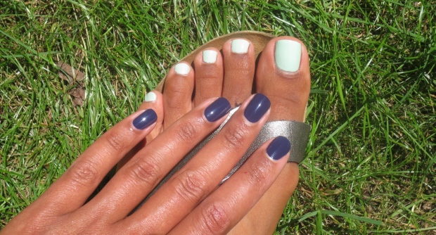 Essie No More Film and China Glaze Re-Fresh Mint combo swatch