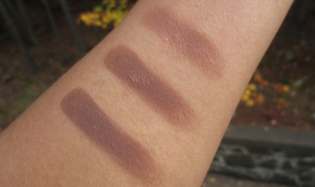 Make Up For Ever Artist Shadow in M-656 vs MAC Saddle vs Laura Mercier Truffle swatch