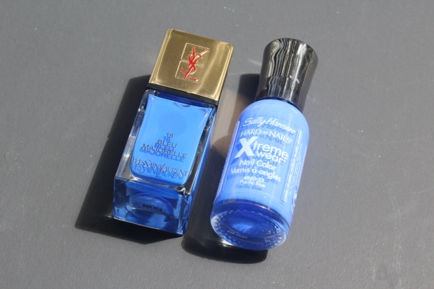 YSL Bleu Majorelle vs Sally Hansen Pacific Blue