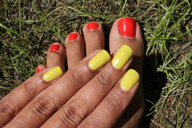 OPI I STOP for Red and OPI Life Gave Me Lemons swatches