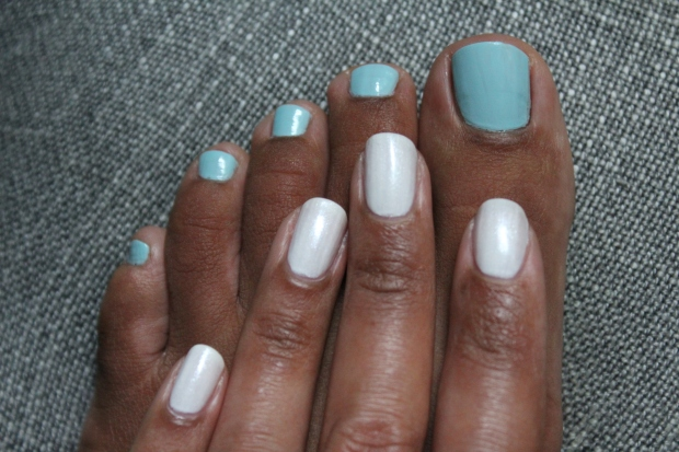 OPI Eternally Turquoise and Pearl of Wisdom swatch