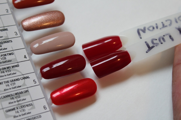 OPI Amore at the Grand Canal swatch comparison